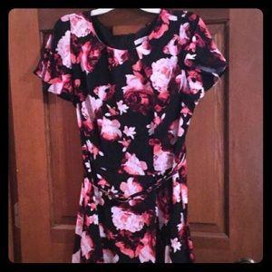Black Red Flower Dress Eva Mendez Size 12 Flirty